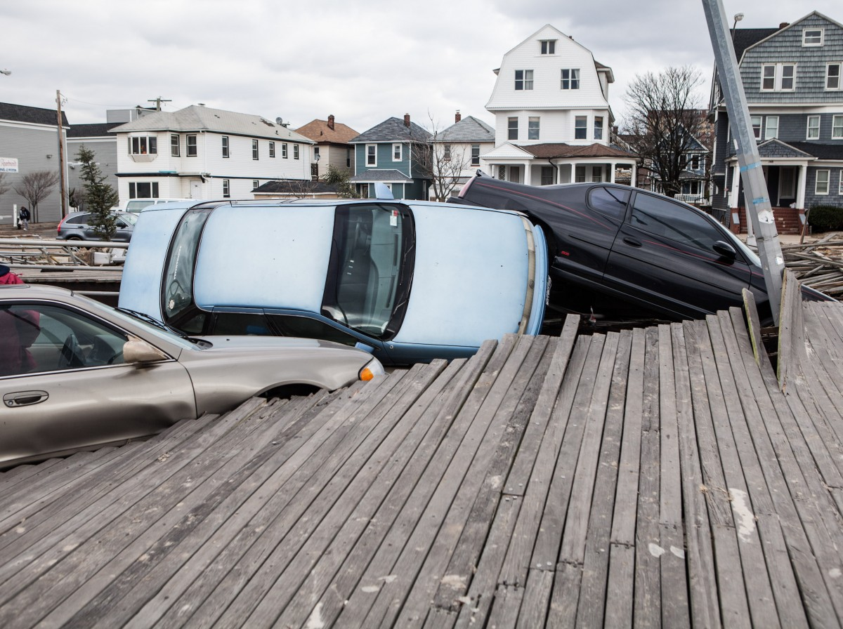 Upturned cars as a result of Hurricane Sandy