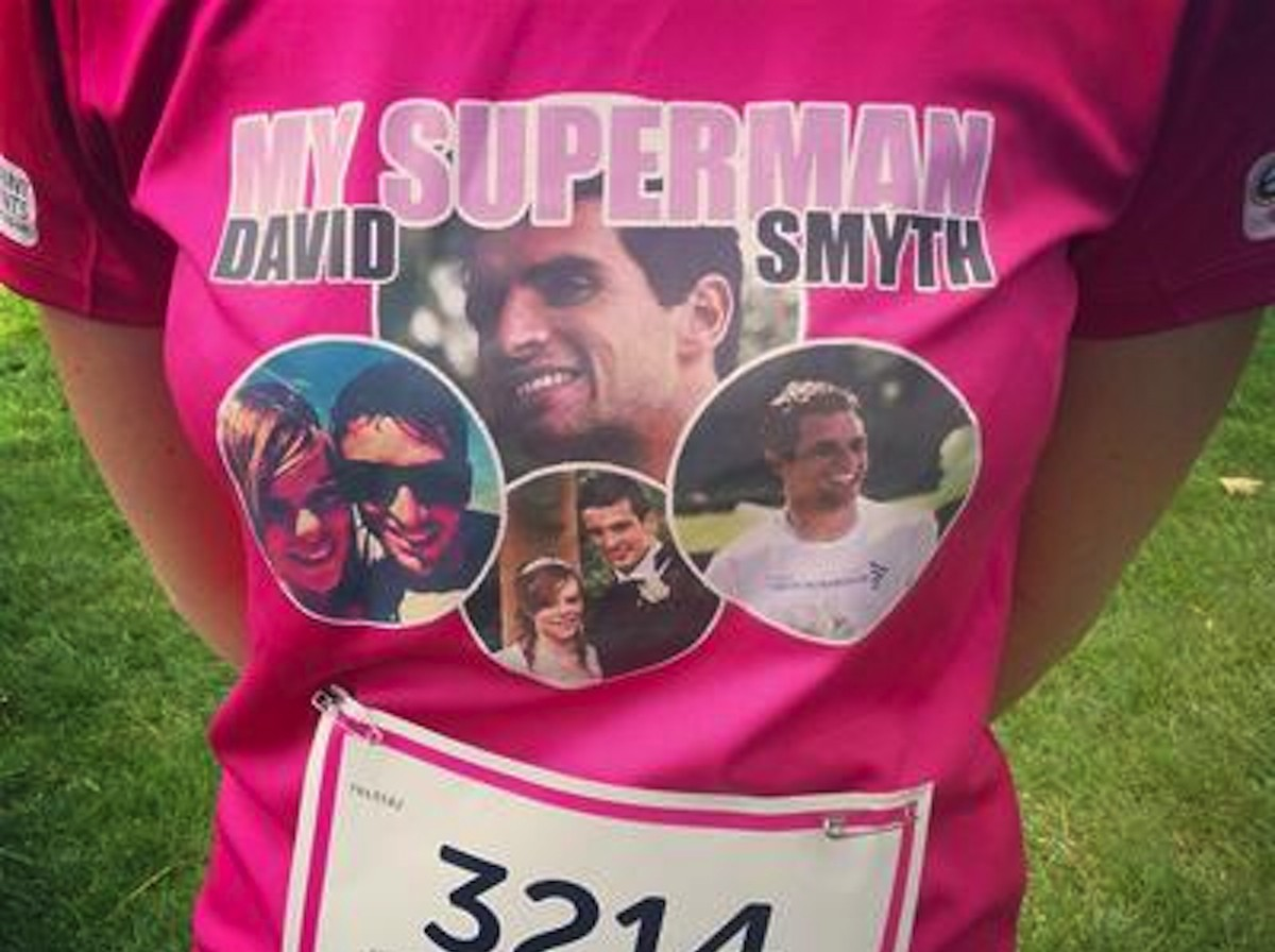 Megan Smyth's Race for Life t-shirt showing picture of David Smyth, her late husband who died of testicular cancer aged 28
