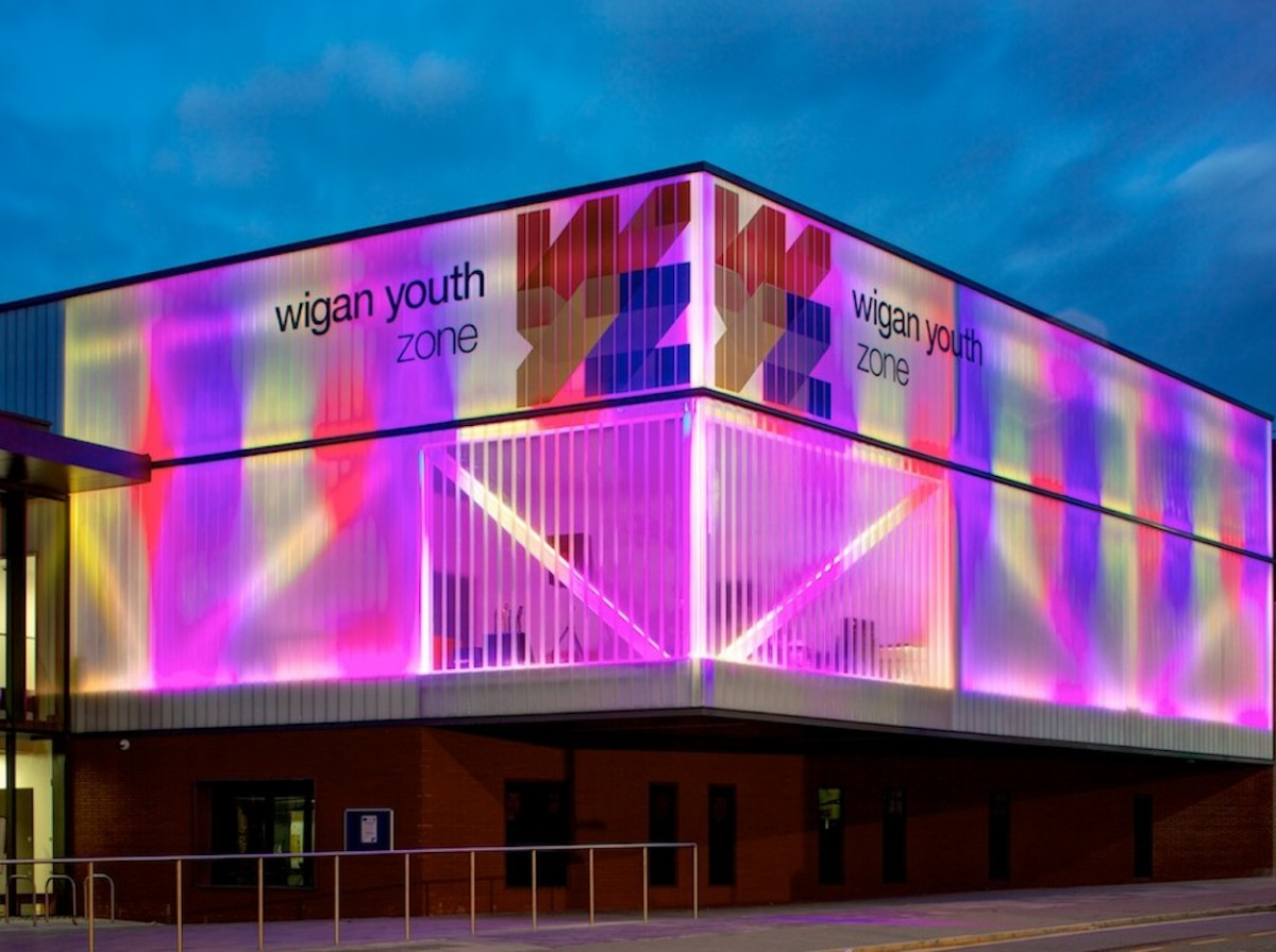 View of the Wigan Youth Zone showing its beautiful coloured exterior