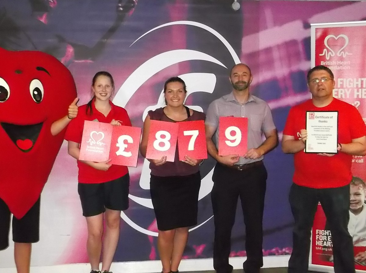 Four staff from Freedom Leisure who work at Woking Leisure Centre holding sign saying £879 raised for the British Heart Foundation