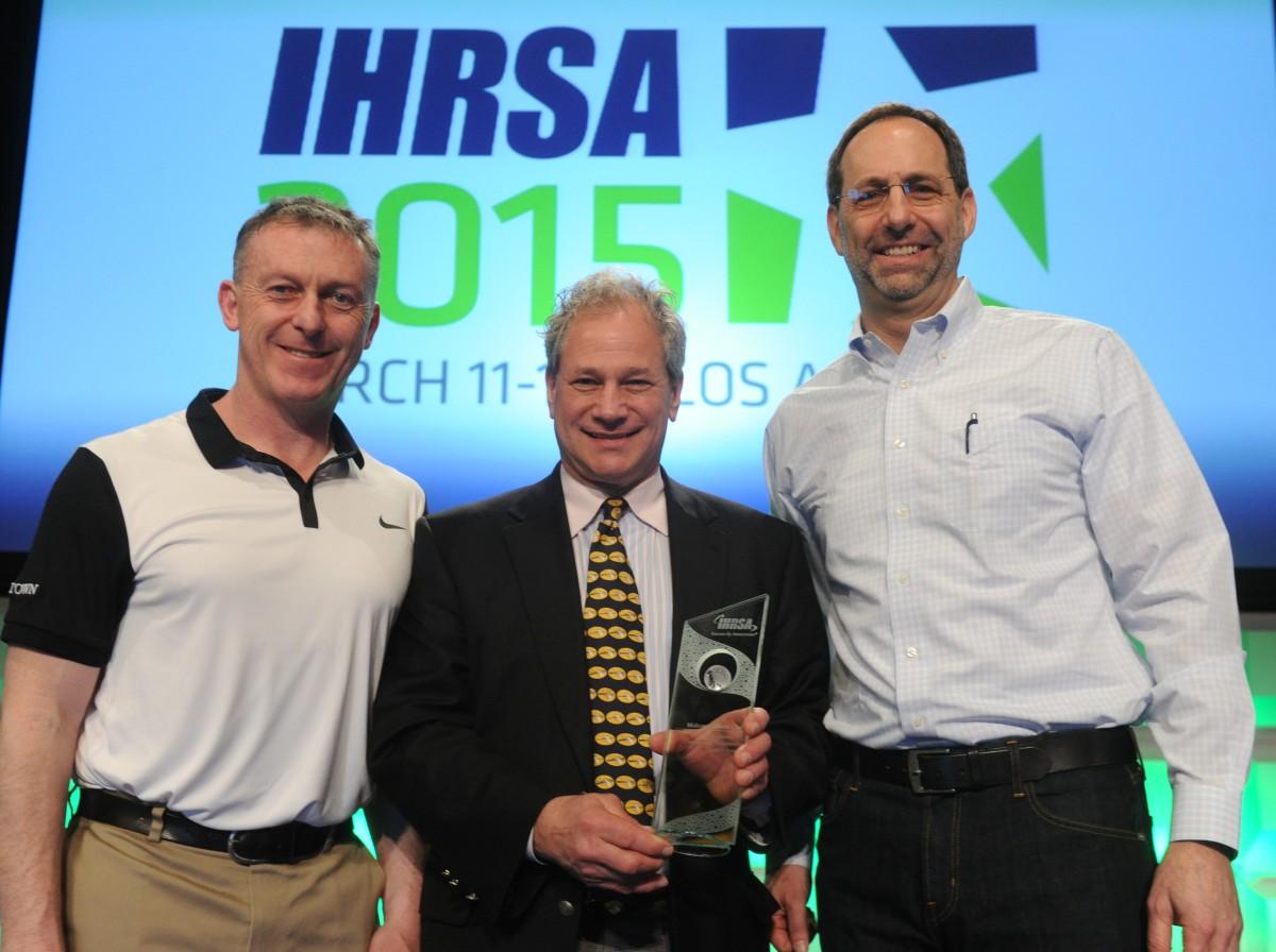 IHRSA Award - Jon Brady Midtown COO Glenn William Midtown Rochester General Manager Steven Schwartz, Midtown President & CEO accepting their IHRSA Outstanding Community Leadership Award