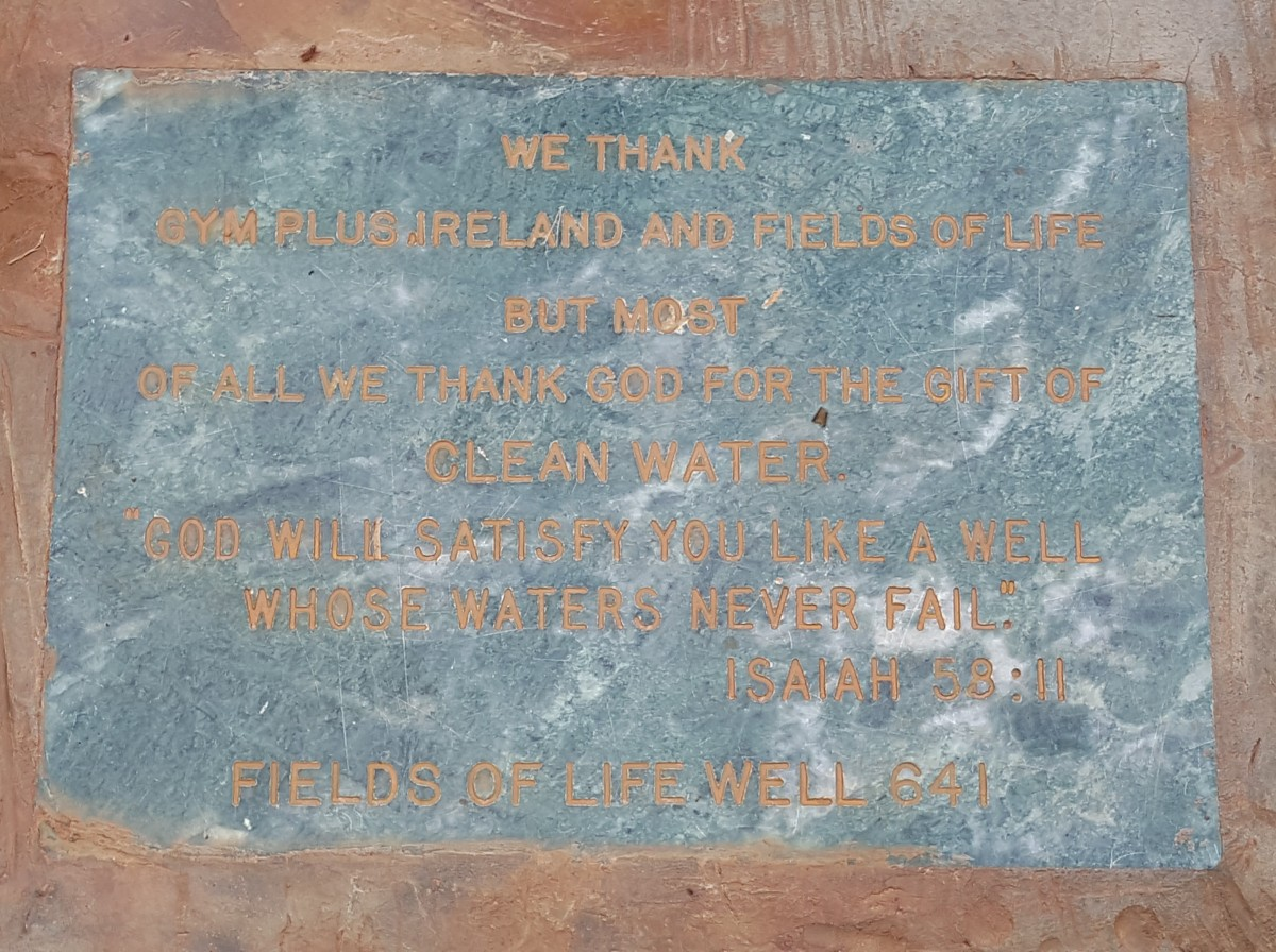 Gym Plus Ireland and Fields of Life plaque to commemorate the new Ugandan water well