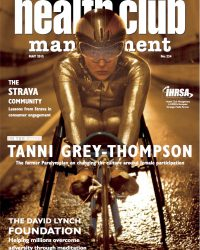 Cover Health Club Management magazine showing picture of Tanni Grey-Thompson former Paralympian in gold racing suit and set for the start of a race May 2015